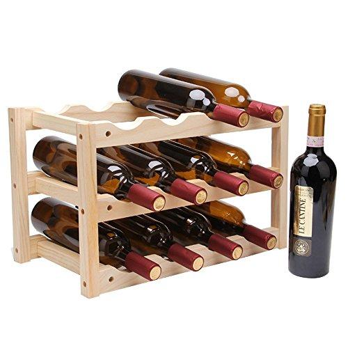 LHA Porte-bouteilles Pin pur pour créer une étagère à vin en bois massif Home Living Room Decoration