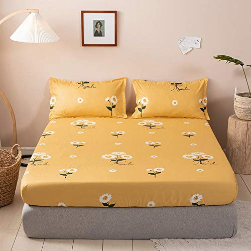XGguo Deep Fitted Sheets Microfiber Bed Sheets, Ultra Soft Silky Smooth and Wrinkle-Resistant Bed sheet sanded dustproof single piece-6_150*200cm
