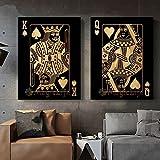 PYROJEWEL Gelbe Q und K Poker Zitate Nordic Poster