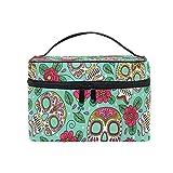 Makeup Bag, Sugar Skull Floral Print CosmeticToiletry Storage Large Travel Handle...