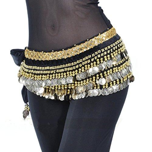 MUNAFIE Women's Belly Dance Coin Belt Hip Scarf Black