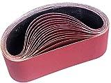 STEBRUAM Bandas de Lija 100 x 610 mm,Banda Abrasiva 3 x grano 80/120/150/240/400 para Lijadora de Banda,para Quitar el Polvo, Quitar la Pintura y Pulir(15 piezas)