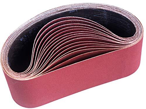 Bande Abrasive,100 x 610 mm, Bandes Abrasives Mixte (3x grains 80 120 150 240 400) pour Ponceuses à Bande(15 pièces )-STEBRUAM