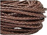 Corda di cuoio rotondo intrecciato, 3mm colore marrone – Lunghezza: a scelta, Pelle, marrone, 3 metri