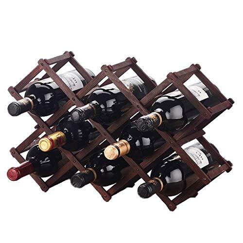 HiiGlife Massivholz-Weinflaschenregal FALTDISPLAYS Haushaltsweinregal Weinklimaschrank Dekoration Regal Weinglas Rack-Wein-Halter (Color : Wine red)