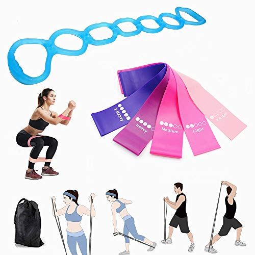 calliven Resistance Fitness Bands, 7 Ring Stretch and Resistance Exercise Band, 5 Resistance Loop Exercise Bands with Instruction Guide and Carry Bag, for Abdomen Waist Arm Leg Stretching