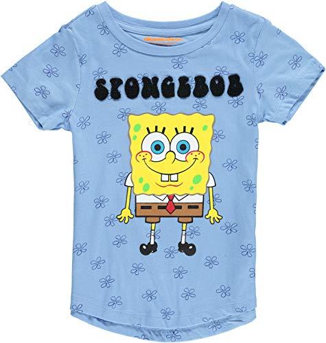 Spongebob Square Pants Girls' All Over Print T-Shirt (10-12, Light Blue)