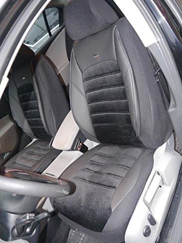 Sitzbezüge K-Maniac für Mercedes C-Klasse W204 | Universal Schwarz | Autositzbezüge Set Komplett | Autozubehör Innenraum | No. 2 | Kfz Tuning | Sitzbezug | Sitzschoner