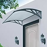 Marko Homewares Black/White Door Canopy Awning Shelter Front Back Porch Outdoor Shade Patio Roof (1, Black)