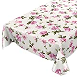 Anro, Tovaglia cerata lavabile, tovaglia cerata, Tela cerata., Fiori rosa/lilla., 220 x 140cm Schnittkante