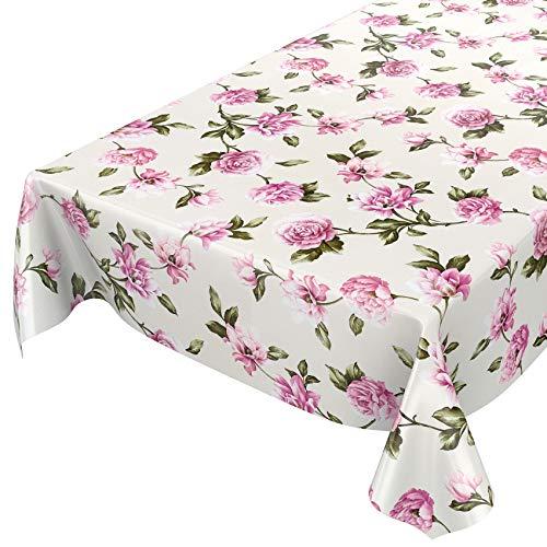 ANRO - Mantel de hule lavable, para mesa, 95% PVC, 5% poliéster., Flores rosa/lila, aspecto textil, 120 x 140cm Schnittkante