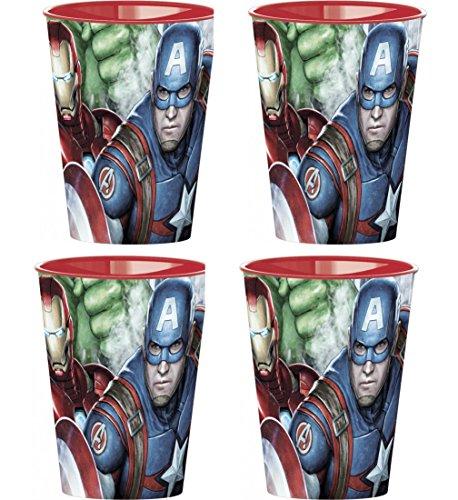 Neu: 4x stabile Kunststoff-Becher * MARVEL AVENGERS * für Mottoparty und Kindergeburtstag | Kinder Geburtstag Motto | Perfekt als Mitgebsel | Hulk Thor Captain America Iron Man