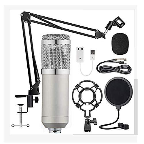 Tiamu Microfono a Condensatore, BM-800 Kit Microfono per Registrazione Professionale con Regolabile Braccio Shock Mount per Registrazione, Podcasting, Voice Over, Streaming, YouTube