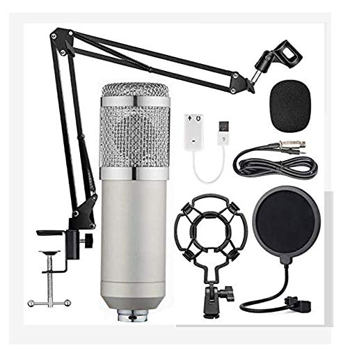 Tiamu Microphone à Condensateur pour PC, BM-800 Micro Studio Streaming Professionnel pour Jeux, Streaming, Podcasting, Youtube, Voix Off