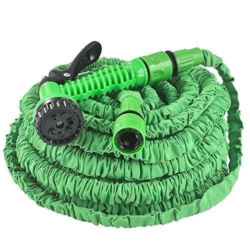 Juskys Flexibler Gartenschlauch Aqua mit Handbrause   30 m   Adapter 1/2 Zoll & 3/4 Zoll   grün   Wasserschlauch Flexischlauch dehnbar knickfest