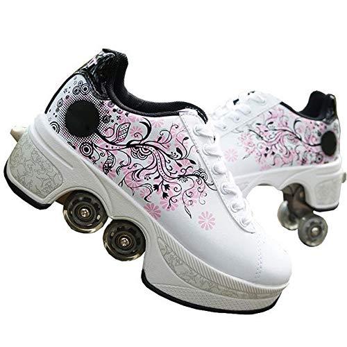 LANGYINH Multifunctionele Rolschaatsen Schoenen Vierwielige Vervorming Roller Schoenen Intrekbare Automatische Schoenen Geschikt voor Outdoor Play Game