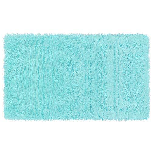 PiccoCasa Tapis moelleux en fausse peau de mouton pour intérieur doux en fausse fourrure pour chambre à coucher, canapé, salon, tapis de sol rectangulaire lavable Bleu clair 3 x 5 m