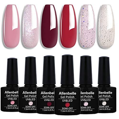 Allenbelle Esmaltes Permanentes Para Uñas Nail Art Soak Off UV LED Esmalte Permanente de gel (Lot 6 pcs 7.3ML/pc) 006
