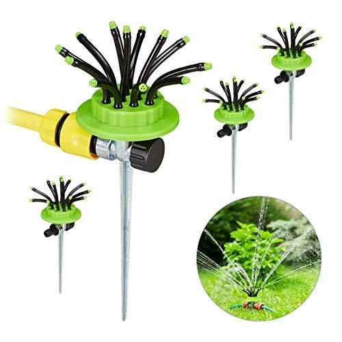 Relaxdays Rasensprenger 4er Set, je 12 flexible Düsen, mit Erdspieß, bis zu 6 Meter Reichweite, Sprinkler, grün-schwarz