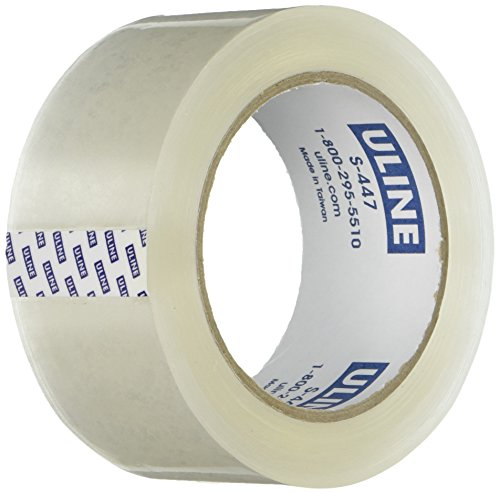 "U-Line Thick Packing Tape, 3.5 mil Thick, 2"" x 55 Yd, Crystal Clear, 6 Rolls (S-447)"