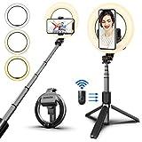 syosin bastone selfie luce anello, 2 in 1 con telecomando wireless selfie stick treppiede regolabile con anello luce dimmerabile 3 modalità colore per smartphone, youtube, tiktok, foto