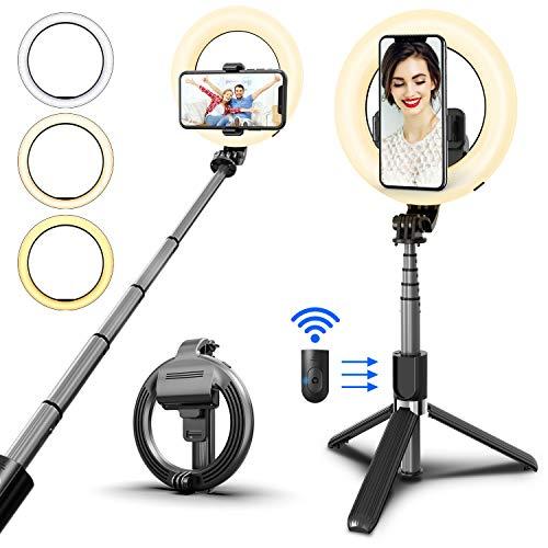 SYOSIN Luz de Anillo, Palo Selfie Anillo de Luz LED con Trípode Control Remoto Inalámbrico 3 Colores para Móvil Selfie Maquillaje Youtube TIK Tok Live