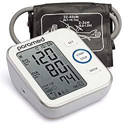 PARAMED Blood Pressure Monitor - Digital Upper Arm Bp Machine & Pulse Rate Monitoring Meter with Cuff 22-40cm, 120 Sets Memory, Large LCD - Device Bag & Batteries Included