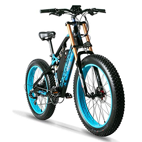 Extrbici Full Suspension Fat Electric Bike 48V E-bike With 17A Lithium Battery Motorcycle MAX Speed 40km/h XF900 (blue)