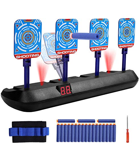 UBETT Best Electronic Shooting Target Scoring for Nerf Guns,4 Targets and 20 Refill Darts Auto Reset Digital Target Toy Set,Cool Ideal Gift for Kids, Teens, Boys & Girls