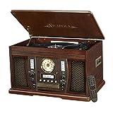 Victrola Nostalgic Aviator Wood 7-in-1 Bluetooth Turntable Entertainment Center, Espresso (Certified Refurbished)