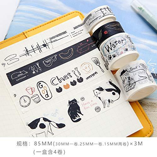 YFB Cinta de cuenta de mano cuenta de mano y juego de cintas de papel herramientas de cuenta de mano pegatinas decorativas material de collage de bricolaje gato de Hemingway