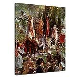 Wandbild Adolph von Menzel Fronleichnamsprozession in Hofgastein - 50x70cm hochkant - Alte Meister Berühmte Gemälde Leinwandbild Kunstdruck Bild auf Leinwand