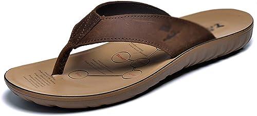 BNMZXNN Tongs en Cuir pour Hommes Hommes Tongs à Bout Ouvert Chaussons de Plage Chaussures de Sport,marron-39  Commandez maintenant