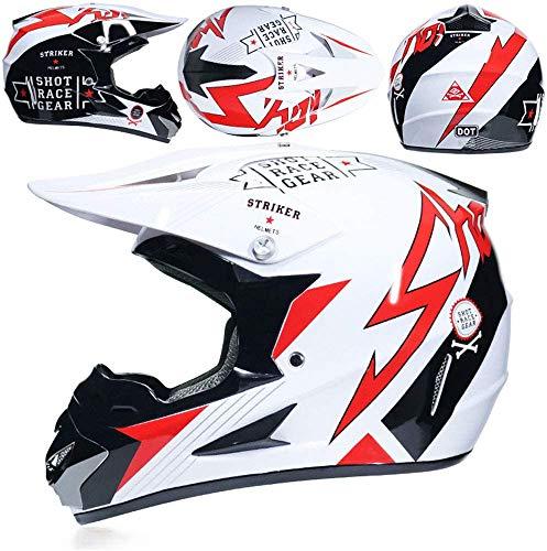 ZYW Jugend Kinder Motocross Helm, ATV Scooter Downhill MX Motorrad Helm D.O.T Zertifizierung/Senden Skibrillen Handschuhe Maske, S, M, L, XL,Weiß,L