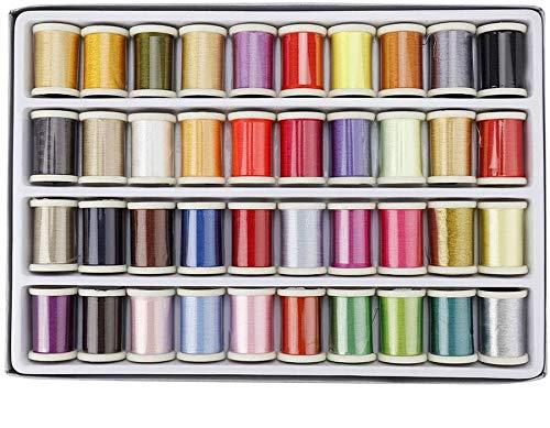 CHICIRIS Hilo de Bordar a máquina Poliéster 40 Colores con Caja de Almacenamiento de plástico para Bordado, Kits de Hilos de Coser, Máquinas de Coser