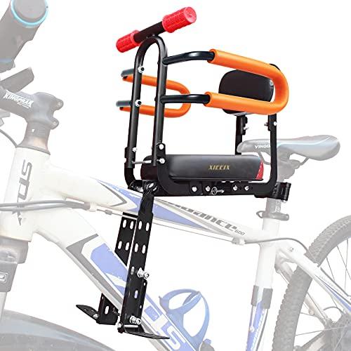 XIEEIX Asiento de bicicleta para niños de montaje frontal, plegable, con respaldo de asiento de dirección, asiento ajustable y pedal, para diferentes tipos de bicicletas ⭐