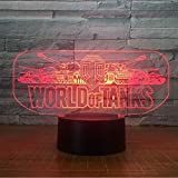 WCSMQT 3D LED illusion Lampe World Tank Car Nachtlicht Elektro 7 Farbwechsel USB Touch Desk für...