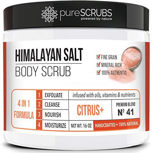 pureSCRUBS Premium Pink Himalayan Salt Body Scrub Set - Large 16oz CITRUS SCRUB, Organic Essential Oils & Nutrients INCLUDES Wooden Stirring Spoon, Loofah & Mini Exfoliating Bar Soap