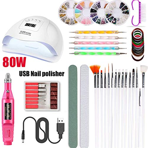 YANG Portable USB Electric Nail Files 15 in 1 Manicure Polishing Tools Nail Clipper Set Phototherapy Nail Machine, Pen Shape Manicure Pedicure Set Nail Care Tool,Red