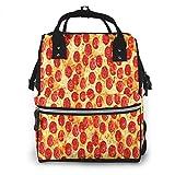Mochila de Pañales para Cambiar Pañales Pizza Pepperoni Visita Mi Página, Gran Capacidad Bolsa de Momias a Prueba de Agua Elegante para Mamá Papá Viajar Con Un Bebé