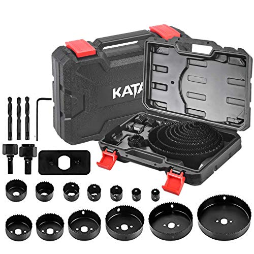 "KATA Hole Saw Set 20PCS Hole Saw Kit with 3/4""-6""(19-152mm) 13PCS Saw Blades,2 Mandrels,3 Drill Bits,1 Installation Plate,1 Hex Key,Ideal for Soft Wood,Plywood,Drywall,PVC"