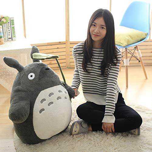 Haoyue 30-70cm Lindo Totoro Peluche Animal Juguetes de Peluche Suave Kawaii Personaje de Dibujos Animados muñeca con Hoja de Loto o Dientes Regalos para niños,A,30CM