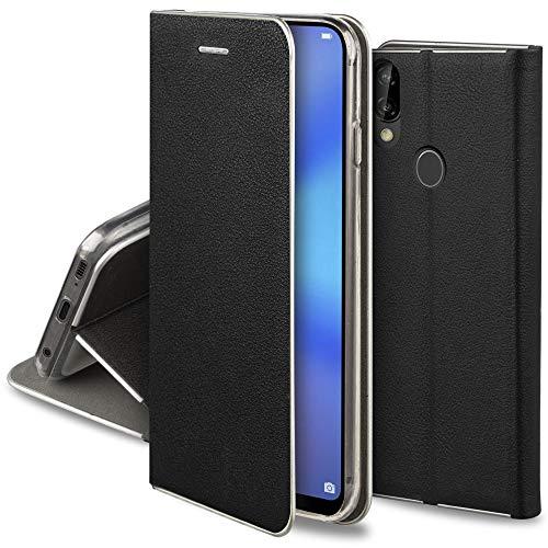 Moozy Funda con Tapa para Huawei P20 Lite, de Cuero PU Negro – Elegante Flip Cover con Bordes Metalizados de Protección, Soporte y Tarjetero