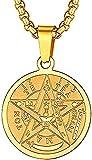 Collar de pentagrama de cadena de acero inoxidable con símbolo de amuleto de talismán, colgante de pentáculo de poder mágico para hombres y mujeres dorado