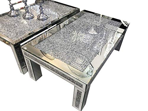 Mirrored Coffee Table Sparkly Silver Diamond Crush Crystal Rectangular Glitz 120cm New