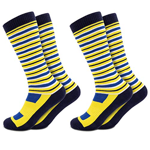 Occulto 2 Paar Kinder Skisocken | Kniestrümpfe für Jungen und Mädchen | Warme Kinder Winter Thermo Socken Größen 23-38 | Winter Sportsocken für Kinder (35-38, Gelb)
