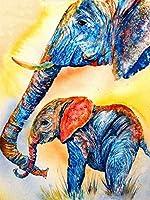 大人、子供、ティーンエイジャーのための2000ピースのジグソーパズル象の父と息子の絵ゲーム、完璧にフィットする、教育的な知的家族