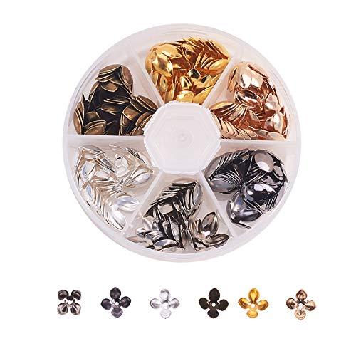 Stiesy 108 tapas de cuentas de hierro, 4 pétalos, para hacer joyas, accesorios de bricolaje, 14,5 x 7,5 mm