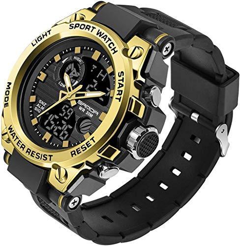 wyingj Al aire libre reloj de pulsera de los hombres relojes digitales de los hombres equipo militar impermeable cronómetro fecha reloj despertador números luminosos-oro