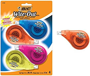 4-Count Bic Clean Wite-Out Brand EZ Correct Correction Tape
